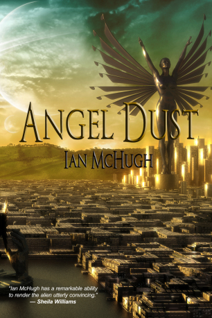 A gigantic metal angel statue stands over a city with one arm raised. The buildings in the foreground are low and dark, the buildings at the angel's feet are tall and gleam with the reflected light of a setting sun.