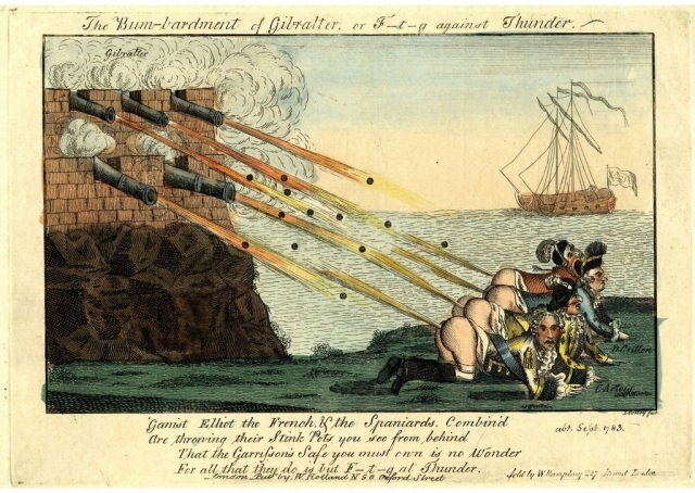 Canons fire from a tower down onto a group of men in 18th century military regalia below. The men are crawling on their hands and knees, buttocks bared, farting back at the canons. A ship can be seen in the distance.