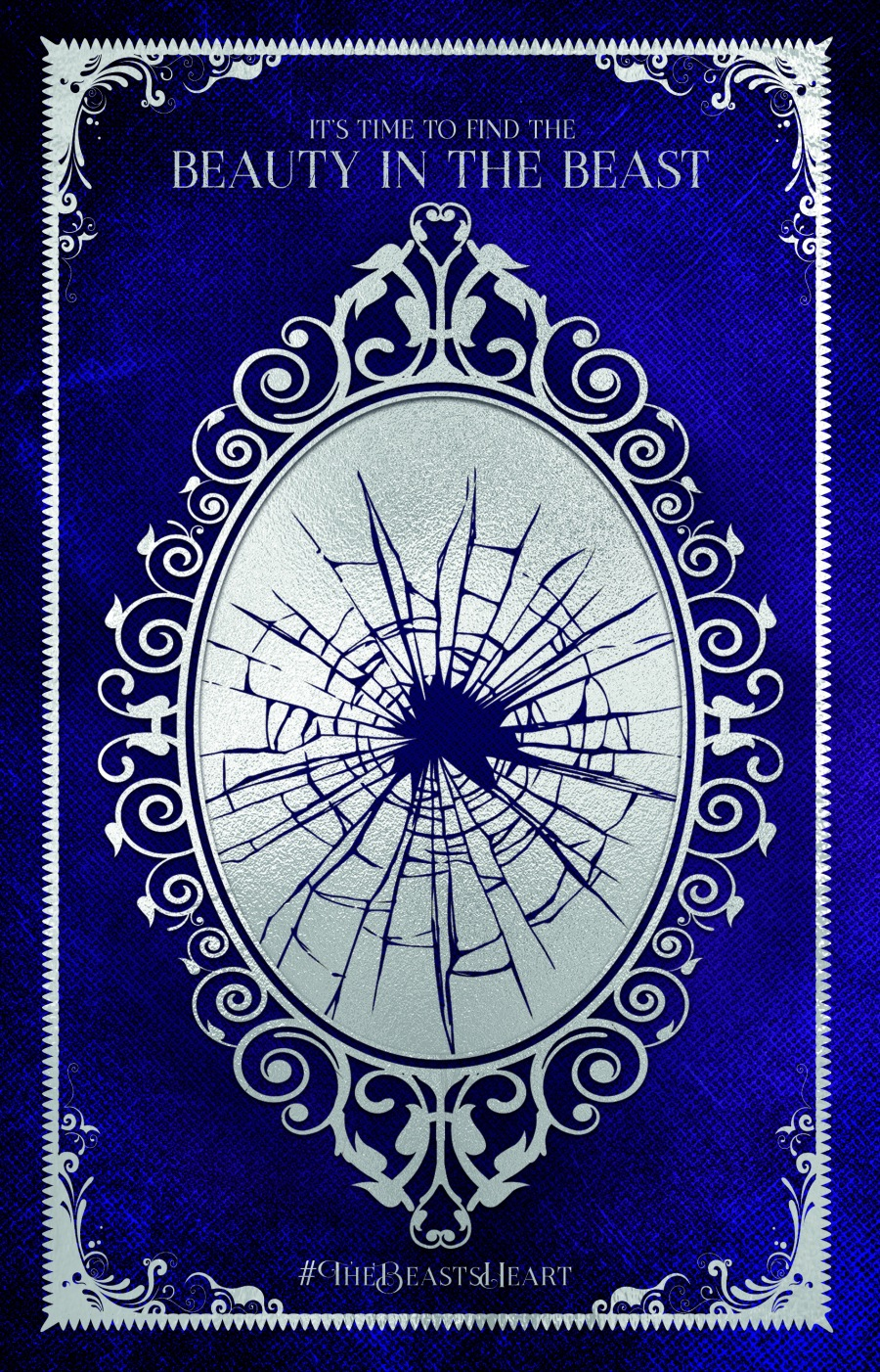 An oval mirror in an ornate frame on a deep blue background. The mirror has been shattered.