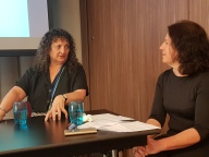 Kaaron Warren interviewing Ellen Datlow, courtesy of Cat Sparks