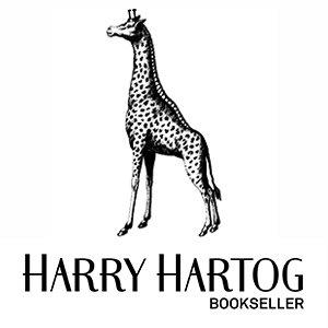 A giraffe stands above the text Harry Hartog Bookseller